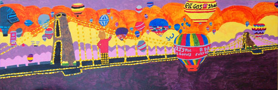 Bristol Balloon Festival.  Rupert Flies Over the Suspension Bridge