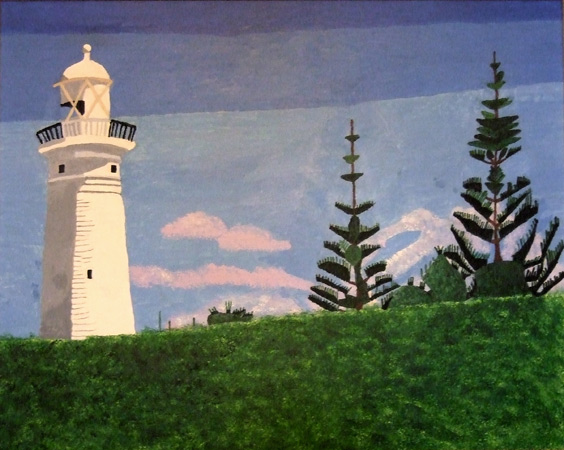 Lighthouse and Pine Trees