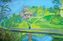Bicton Church, £250: Acrylic 40 x 60 cms