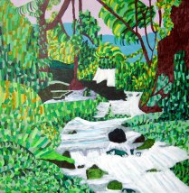 Raging River, £500: Acrylic 60 x 60 cms